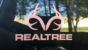 Realtree Decal Antler Logo Contour Cut Real Tree Pink Die cut Sticker