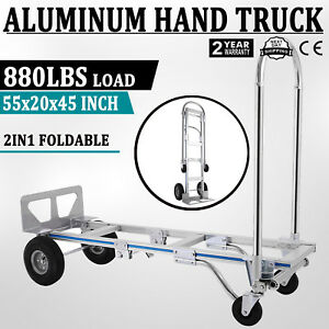 Usa Ship Hand Truck Dolly 2 in 1 Convertible Hand Truck 2 To 4 Wheeler Aluminum