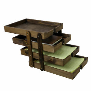 4 Tier Collapsible Wood Document Tray Organizer Expandable Office File Holder
