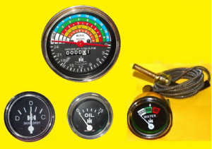 Ih Farmall Tractor Gauge Set 300 350 Gas Utility Temp Oil Ampere Tachometer
