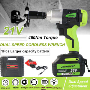 21v Cordless Impact Wrench Led Light Li ion Dual Speed 1 2 Electric 4 Scokets