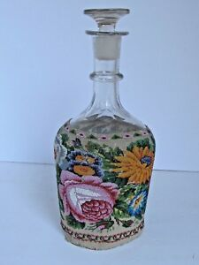 Antique Clear Glass Decanter With Finely Beaded Floral Cover Unusual