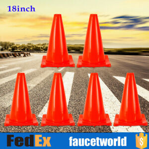 6 Pcs 18 Red Wide Body Road Safety Cones Construction Traffic Sports Pvc Cone