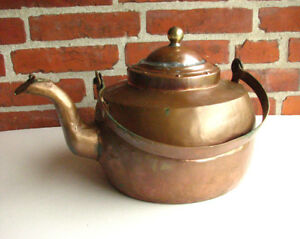 Large Hand Made Antique Copper Kettle Danish 1860