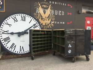 Double sided Vintage Industrial Rolling Military Cube Locker Race Teams Etc