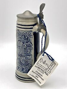 Salt Glazed Blue Gray Jug With Pewter Lid Stoneware Siegburger Schnellen 1000