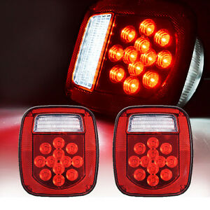 2xred white 39led Truck Trailer Boat For Jeep Tj Cj Yj Jk Stop Turn Tail Lights