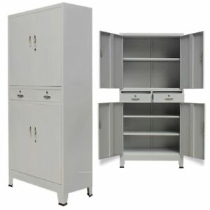 Locking Office Cabinet With 4 Doors Home Steel Filing Storage With Drawer Gray