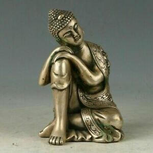 Chinese Silver Copper Hand Carved Kwan Yin Statue W Qianlong Mark