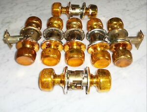 Set Of 7 Vintage National Lock Co Bright Copper Gold Door Knob Plate Cover Sets