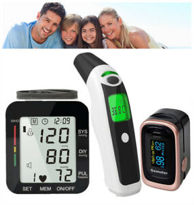 Finger Oximeter Wrist Blood Pressure Monitor Forehead Ear Body Thermometer