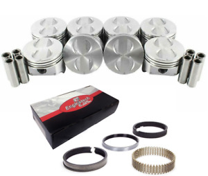 Flat Top Pistons W Moly Rings Set For 1977 1992 Ford Sbf 302 5 0l