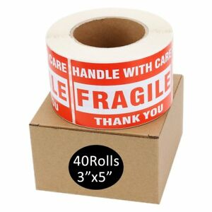 40 Rolls Of 500 Large 3x5 Fragile Stickers Handle With Care Shipping Labels Red