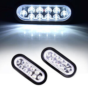 2x Oval 6 White 10 Led Reverse Backup Trailer Truck Light High Low Brightness