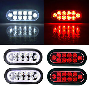 4x Red White Oval 6 10led Trailer Truck Stop Turn Backup Tail Light Flush Mount