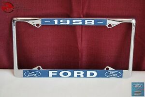 1958 Ford Car Pick Up Truck Front Rear License Plate Holder Chrome Frame New