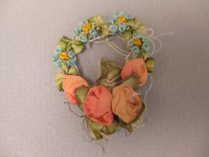Antique Victorian Silk Ribbon Work Ribbon Rose Rosette