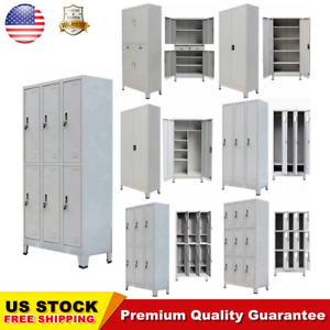 2 4 Door Metal Storage Office Cabinet Cupboard Wardrobe Shelves Locker Steel Hot
