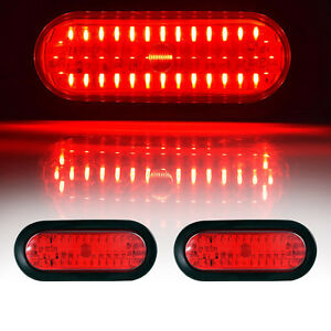 2x Red 6 Oval Trailer Truck 45led Sealed Stop Turn Tail Light Marine Waterproof