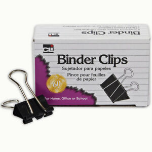 12 Bx Binder Clips 12 Per Bx 1in Large Capacity 2in Wide