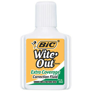 12 Ea Bic Wite Out Correction Fluid Extr Coverage