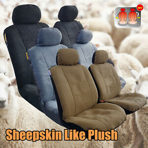 Pair Luxury Sheepskin Lambswool Plush Velour Car Seat Covers For Tacoma Colorado