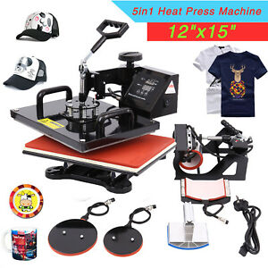 12 x15 5 In 1 Heat Press Machine Transfer Sublimation T shirt Mug Hat Plate Cap