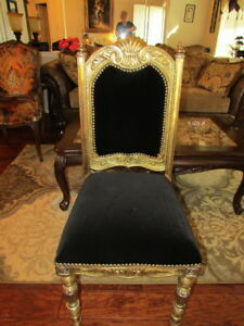 Vintage French Louis Xvi Style Black Velvet Gilted Carved Wood Frame Side Chair