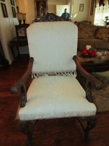 Vintage French Louis Xvi Style White Brocade With Carved Wood Frame Arm Chair