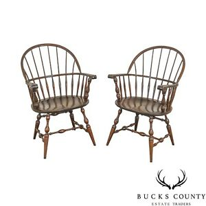 S Bent Bros Vintage Pair Maple Windsor Arm Chairs