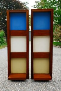 Pair Mid Century Modern Teak Floating Shelf Wall Unit