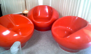Set Of 3 Round Mid Century Mod Orange Fiberglass Pod Chairs Pastille Eames Era
