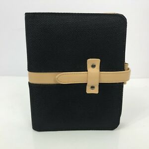 Franklin Covey Compact Binder Black Planner Nylon Canvas Six Ring