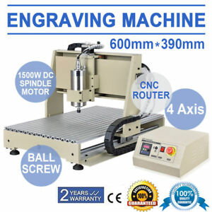 4 Axis Cnc Router 6040 1500w Engraving Machine Drilling 600 390mm Diy Metal Cut