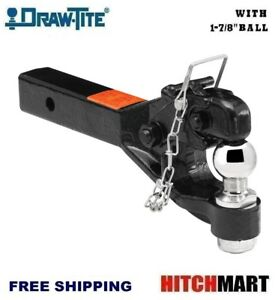 Draw Tite Pintle Trailer Hitch Receiver Mount W 1 7 8 Ball Solid Shank 63040
