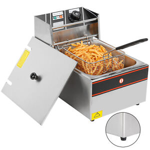 6l Electric Deep Fryer Stainless Steel 2500w Restaurant Cooking Fries Basket