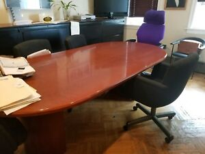 Clean Wood 8 x4 x30 Conference Table With 2 Half round Bases In New Condition