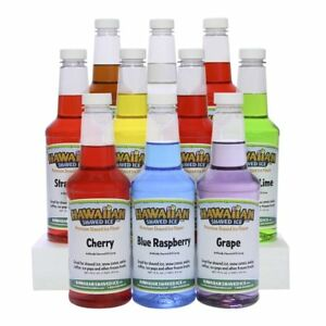 Ice Shaved Syrup Snow Cone Flavor Mix Concentrate Hawaiian Bottles 10 Pack