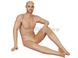 Male Fiberglass Realistic Mannequin Sitting Pose Dress From Display mz glm1