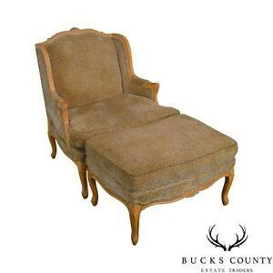 French Louis Xv Style Custom Upholstered Wide Seat Bergere Chair With Ottoman