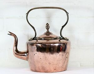 Large Antique English Copper Kettle 19th C Brass Fittings Hand Cut Dovetails