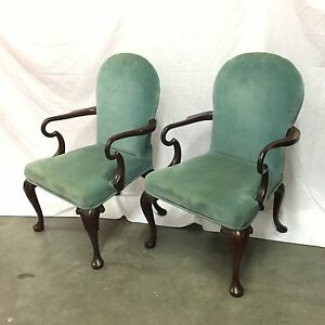 Vintage Kittinger Mahogany Colonial Williamsburg 2 Chairs Set Chippendale 1970 S