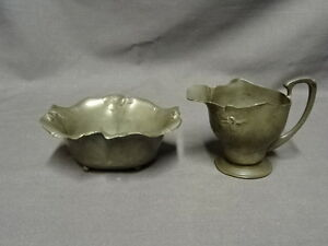 Antique Art Nouveau Orivit Jugendstil Pewter Milk Jug Sugar Bowl