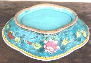 Beautiful Large Antique Famille Rose Porcelain Footed Serving Dish Bowl Chinese