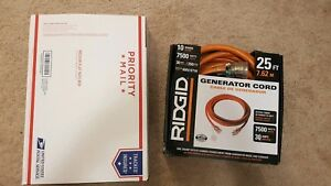 Ridgid 25 ft 7500w 30a10 4 gauge Generator Power Cord cable 615 18046ab