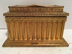 Antique Lincoln Memorial Gold Metal Hinged Lined Trinket Box Jennings Brothers