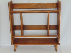 Mid Century Modern Solid Wood Book Case Shelf Peg Leg Encyclopedia Danish 1960s