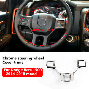 Chrome Steering Wheel Cover Trims For 2014 2018 Dodge Ram 1500 2500 Accessories