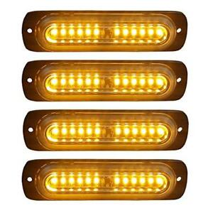 4pcs Ultra Slim 12 led Surface Mount Grille Flashing Strobe Lights For Truck Car
