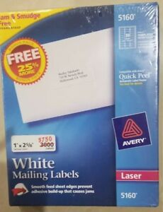 Avery 5160 White Mailing Labels Address Labels Laser Bonus Pack 3750 Labels